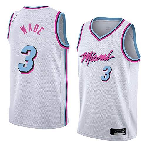 XXMM Camiseta De Baloncesto para Hombre, NBA Miami Heat # 3 Dwyane Tyrone Wade Camiseta De Baloncesto para Jóvenes Deportes De Ocio Al Aire Libre Blusa Sin Mangas,XXL(185~190CM)