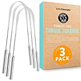 Tongue Scraper, Reduce Bad Breath (Medical Grade), Stainless Steel Tongue Cleaners, 100% BPA Free Metal Tongue Scrapers for Fresher Breath in Seconds (3PK)