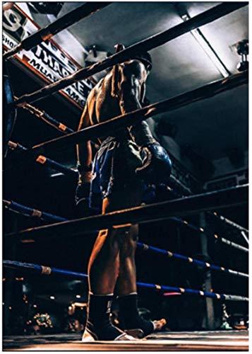 Crazystore Impresión en Lienzo 50x70cm sin Marco Deportes Lucha imágenes Arte de la Pared Hombre Fuerte Pintura Cartel decoración de la Pared Pintura