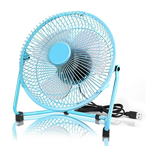 ZYMQ 8 Inch USB Powered Metal Portable USB Desk Fan with 2 Speeds Switch Personal Cooling Fan for Home Office Table Outdoor,Blue