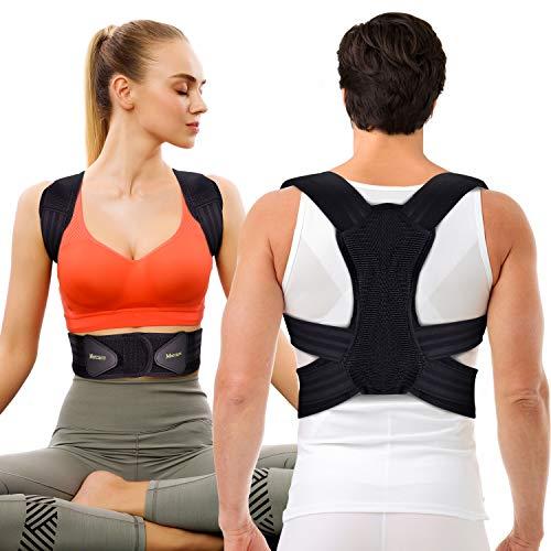 Corrector de Postura Espalda y Hombros Para Hombre y Mujer, Faja para Dolor de Espalda, Enderezador de Espalda Transpirable, Cinturón de Cintura Doble Mejorado(M, cintura 23 '' - 32 '')