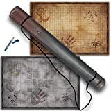 Fantasydice One 1' Grid Game 2 Sided Strategic Battle Map Dry Erase 24 x 36 Mat for Tabletop RPG Perfect for Dungeons and Dragons DND Call of Cthulhu Warhammer 40K with Quiver Cardboard Carrying Tube
