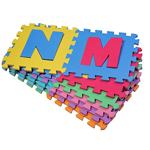 Outsunny HomCom Tappeto Puzzle Gioco Bambini 36 Pezzi - 26 Lettere dell'Alfabeto e Numeri da 0-9