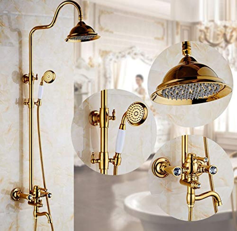 Golden Energieeinsparung Dusche,Wand Dusche Duschkombination Sets mit regen Duschkopf und Handheld einrichten Luxus Regendusche Systeme