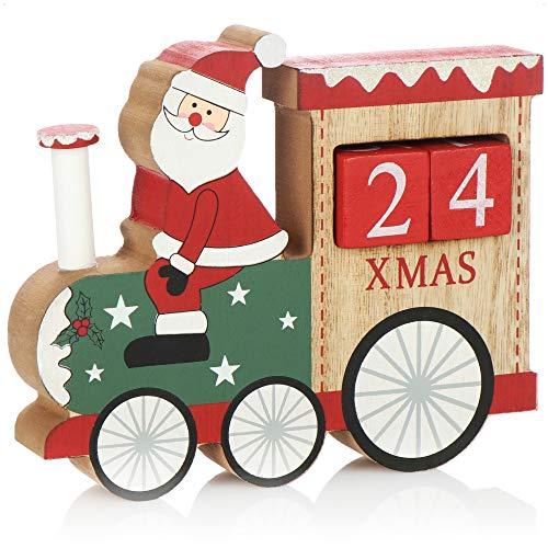 com-four® Adventskalender aus Holz - Würfelkalender in Zug-Form - dekorativer Tischkalender als Countdown bis Weihnachten - Holzblockkalender (Zug - Weihnachtsmann)