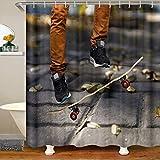 Jungen Skateboard Wasserdichtes Duschvorhang Textil Sport Skateboard Stoff Duschvorhang 180x180 Junge Männer Extremsport Mit Haken Cool Hipster Stil