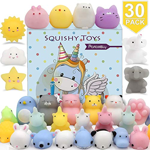 POKONBOY 30 PCS Squishies Mochi Squishy Toys, Mini Kawaii Squishy Animals Squeeze Stress Relief Toys Easter Basket Stuffers Easter Theme Party Favors Squishy Easter Egg Filler for Kids