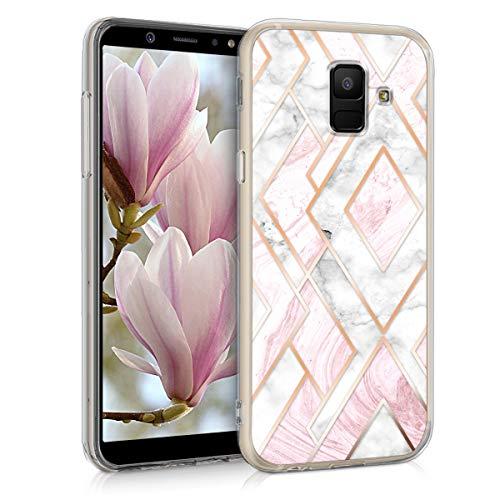 kwmobile Hülle kompatibel mit Samsung Galaxy A6 (2018) - Handyhülle Silikon Hülle - Glory Mix Marmor Rosegold Weiß Altrosa