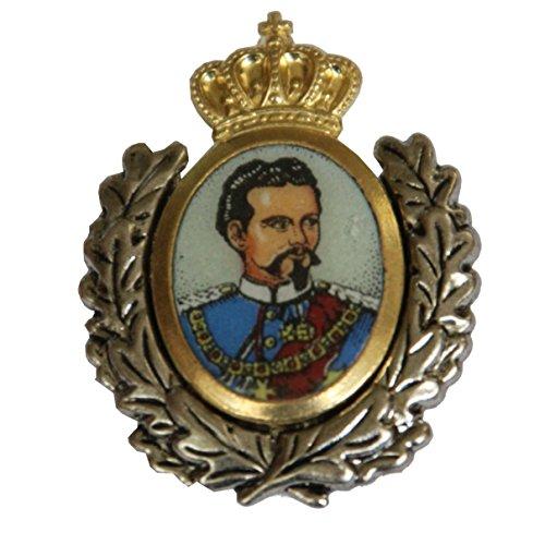Hutansteker | hoedenbadge | hoedenjuwelen | klederdracht-aansteker – Koning Ludwig II – 3 x 3,5 cm – gouden inzet met erekrans
