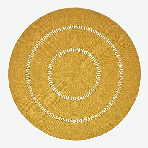 HOMESCAPES Tapis tissé à Plat en Coton ajouré, Tapis Rond Jaune Moutarde, 120 cm