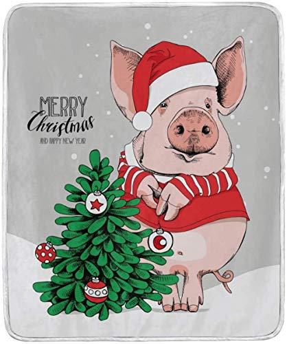 Jgikt Decke,Schwein In Santa S Roten Kostüm Decke, Werfen Weich Gemütlich Warm Plüsch Fuzzy Decke, Leichte Leichte Dekorative BettDecke, Für Couch Sofa Stuhl Travel Office 50X60 Zoll
