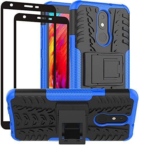 Yiakeng LG Aristo 4+ Plus Case, LG Prime 2/LG Arena 2/LG Tribute Royal/Escape Plus/LG Journey LTE Phone Cover with [2 Pack] Tempered Glass Screen Protector (Blue)