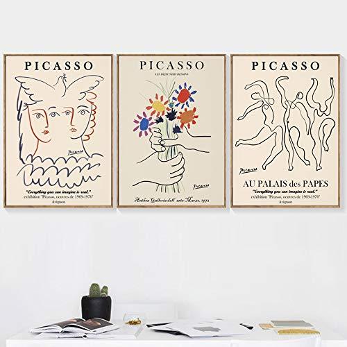 WIOIW Picasso Matisse Abstracto Chica Flor Paloma Curvas nórdicas Dibujo Lineal Lienzo Pintura Pared Arte póster Impresiones Dormitorio Sala de Estar Oficina Estudio decoración del hogar