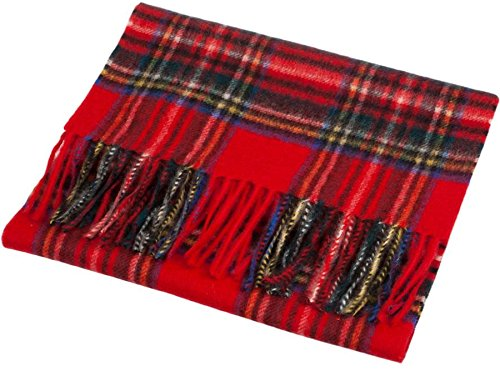 I Luv LTD Unisex Cashmere Scarves In Stewart Royal Tartan Design 26cm Wide