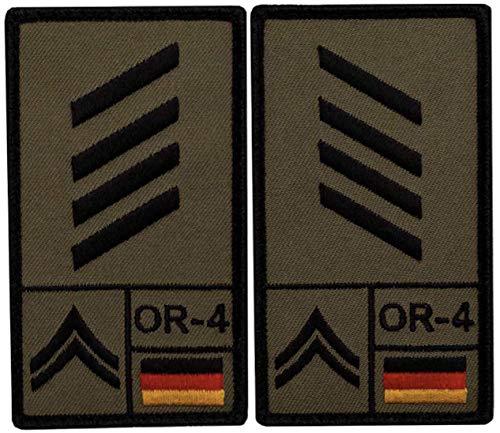 Café Viereck ® Stabsgefreiter Bundeswehr Rank Patch mit Dienstgrad - Gestickt mit Klett - 9,8 cm x 5,6 cm - 2 Stück