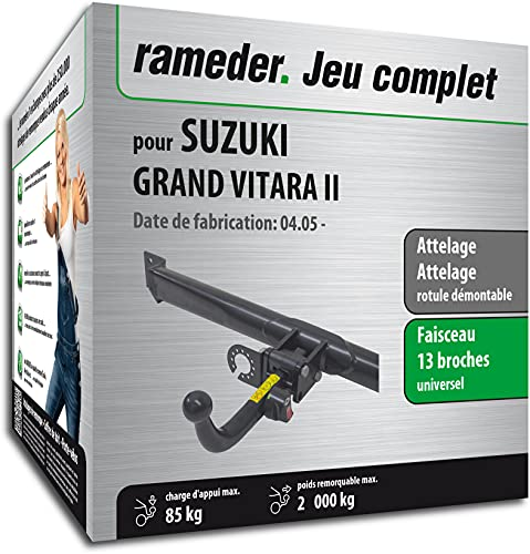 Rameder Pack, attelage rotule démontable + Faisceau 13 Broches Compatible avec Suzuki Grand Vitara II (162604-05489-1-FR)