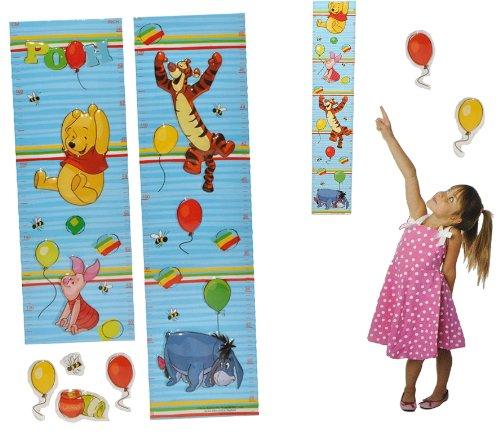 alles-meine.de GmbH 3-D Meßlatte Winnie The Pooh - Wandtattoo selbstklebend mit 4 Sticker - wasserfest - Messlatte Bär Disney Kinderzimmer Wandsticker Aufkleber Pop-Up