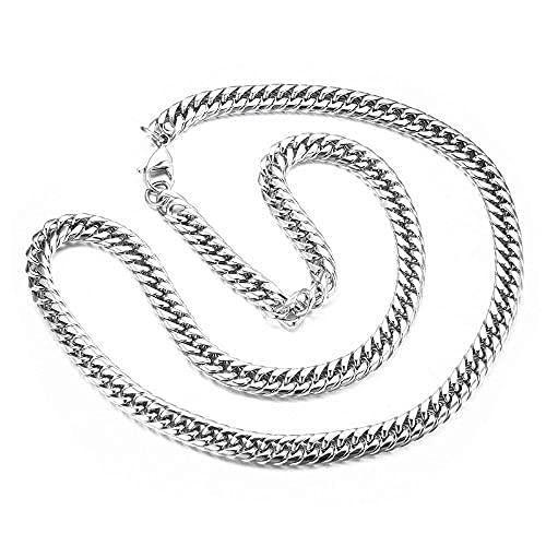 Sobneqce Hip Hop 1 0MM Collar de Cadena de Enlace Cubano de Acero Inoxidable Color de Plata Joyería de Moda, Cadena de Cierre de Diamantes de imitación Regalo (Color : Silver41cm, tamaño : 10MM)