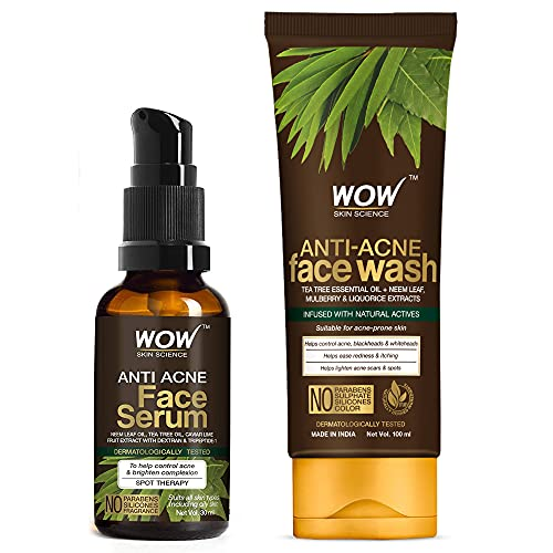 WOW Skin Science Anti Acne Kit – consist of Anti Acne Face Wash Tube + Anti Acne Face Serum – Net Vol. 130mL