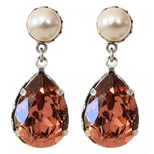 MANON de brécourt–Swarovski® Kristall Drop Ohrringe Rosa und Swarovski® Perle creme Perle