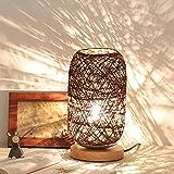 Lámpara de mesa de ratán Sombra pequeña de madera antigua de la lámpara de escritorio de estudio habitación de los niños dormitorio de la cabecera de la lectura de la lámpara, blanco