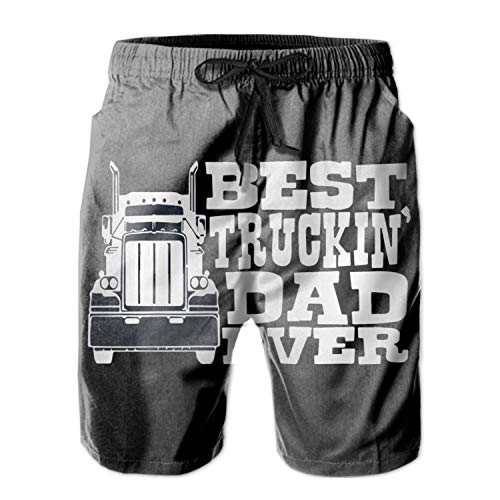 Men's Quick Dry Board Shorts Best Truckin Dad Ever Bathing Suits Swimming Trunks Beach Pants No Mesh Liner