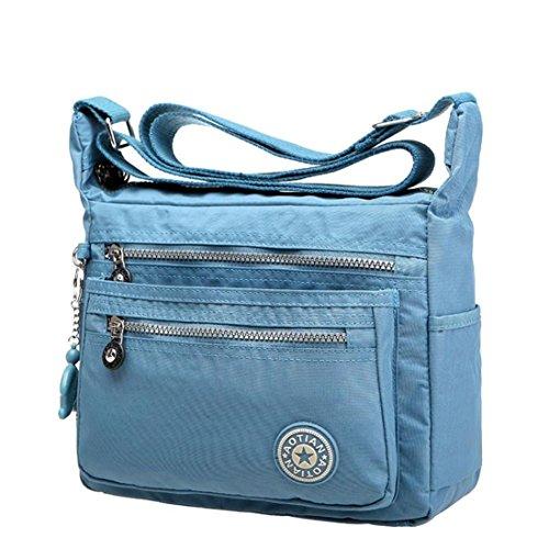 Amlaiworld Mädchen Umhängetasche, Freizeit Damen Mädchen wasserdicht Nylon Messenger Bags Schultertaschen (hellblau)