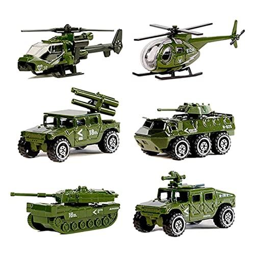 Lpydhfc 6 Pack Sortierte Legierung Metall Armee Models Auto Spielzeug, Die Militärfahrzeuge Mit Militärfahrzeugen, Mini-Armee-Spielzeug-Tank, Jeep, Panzer, Hubschrauber-Playset
