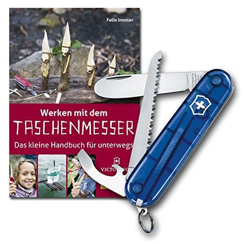 Blaues My First Victorinox Taschenmesser mit Säge plus Handbuch