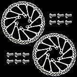 DXLing 2 Piezas 160 mm Rotor de Freno de Disco de Bicicleta de Acero Inoxidable 6 Pernos Flotante Disco Freno para la mayoría de Las Bicicletas de Carretera Bicicleta de Montaña con Pernos
