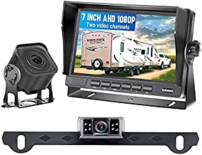 RV Backup Camera AHD 1080P with 7 Inch Monitor for RVs,Trailers,Trucks,5th Wheels, 2 Rear View Cameras Plug and Play System, Super Night Vision IP69 Waterproof Metal Material 12V-36V - DoHonest V27