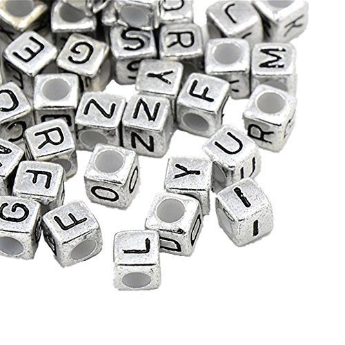 HONBAY 78PCS Metal Silver Letters Alphabet Cube A-z Cube Spacer Beads Cub 7mm