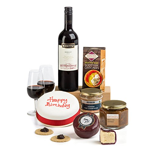 Hay Hampers Birthday Lunch Cheese and Wine with Iced Fruit Cake in Gift Box - Birthday Hamper Gift - Free UK Delivery