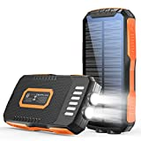 Solar Charger Power Bank 30000mAh Portable Charger with Dual 2.1A Outputs QI Wireless Charger, External Battery Pack with Ultra Bright LED Flashlights IPX5 Waterproof for Cell Phone Tablets