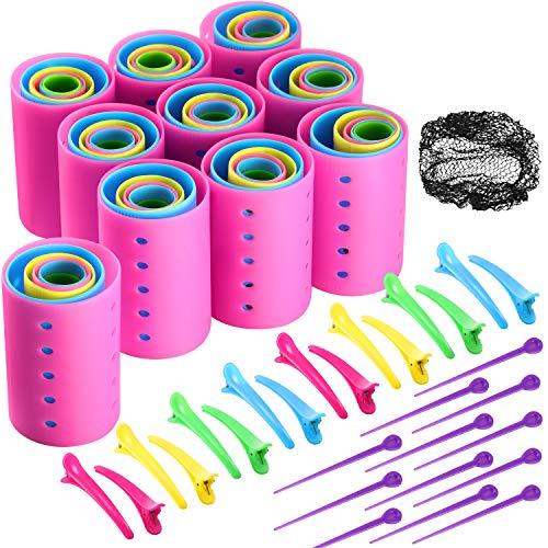 141 Stück Magnetisch Lockenwickler Set Enthalten 60 Kunststoff Glatten Lockenwickler mit 60 Pins, 20 Ente Zahn Haarklammern und Schwarz Haarnetz Friseur Styling Werkzeug, Zufällige Farbe