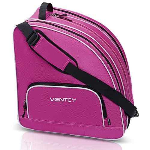 VENTCY Funda El Paquete de Patinaje Ligera de Patinaje Hielo Bolsa para Patines Patines para Patines de Hielo Unisex, Bolsa de Equipamiento para Patinaje para hasta El Tamaño 45 (EU) Rosa roja