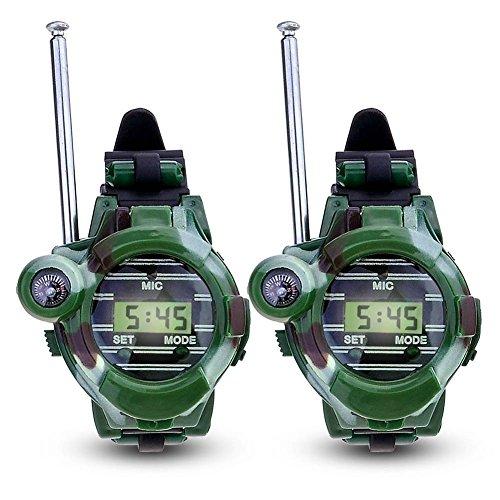 Hangang Walkie Talkies para niños Watch Walky Talky Set Toy para ejército camuflado al aire libre 150 metros Long Range Two Way para niños Gifts Reloj camuflado 7 en 1 (2 PACK)
