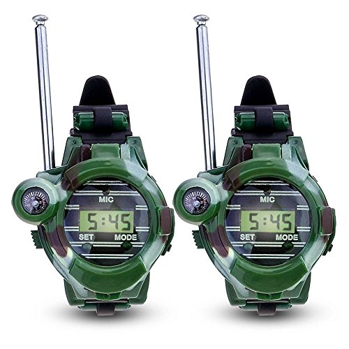 Hangang Walkie Talkies para niños Watch Walky Talky Set Toy para ejército camuflado al aire libre 150 metros Long Range Two Way para niños Gifts Reloj camuflado 7 en 1 (2 PACK)