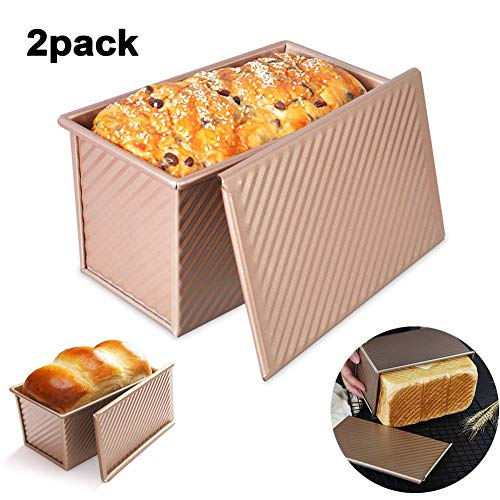YNNG Bakeware Loaf Pan with Cover, Carbon Steel Bread Toast Mold with Lid, Breads and Meatloaf Homemade Cakes Baking Bread Pan