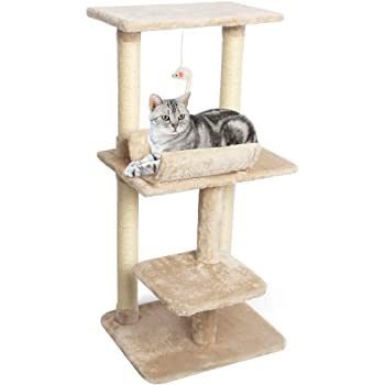 CUPETS Cat Tree Beige Flannelette Cat Climber Play House Condo Furniture with Scratching Post, Activity Tree Pet Products for Cats