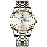 Relojes para Hombre Reloj clásico de Inoxidable con Fecha Resistente al Agua Cuarzo analógico Diseño único Pulsera para Hombre de Negocios para Hombres Oro Blanco
