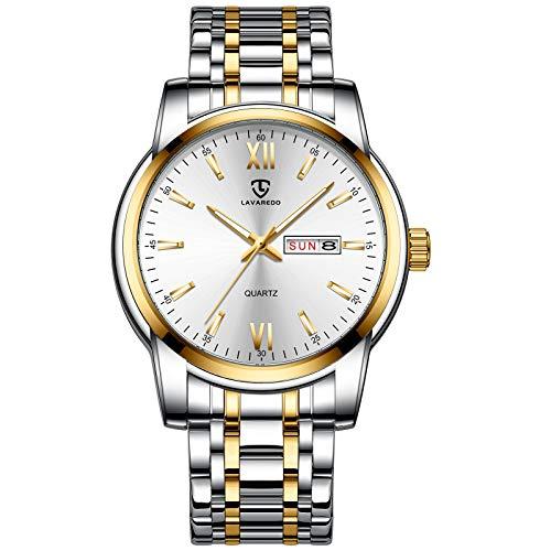 Herren Analog Quarz Uhr Datum Klassisch Armbanduhr mit Edelstahl Armband