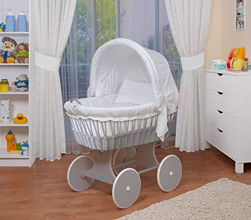 WALDIN Landau/berceau bébé complet avec équipement,26 modèles disponibles,Cadre/Roues gris laqué,couleur du tissu blanc