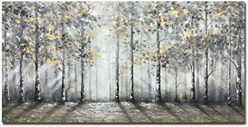 V inspire art 24 X 48 Inch Modern Lmpressionist Tree art 100 Hand Painted Canvas Wall art Oil product image