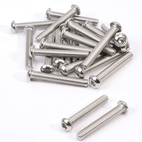 20 tornillos de cabeza de botón M6 (6 mm x 40 mm) tornillos de cabeza Allen de acero inoxidable A2