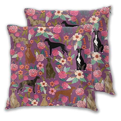 "NoneBrand Greyhounds Purple Vintage Florals Cute Dog Best Florals Flowers Throw Pillow Covers Daily Decoration Sofa Bedroom Car Cushion Cover Zip Square Pillow Cover 18""x 18"" Set of 2"