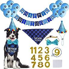 STMK Dog Birthday Party Supplies, Dog Birthday Bandana Boy with Cute Dog Birthday Party Number Hat Bowtie Paw Balloons Dog Happy Birthday Banner for Dog Puppy Birthday Party Supplies