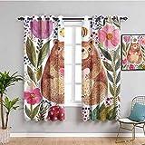 Acuarela flor decoración negro ventana cortina 2 paneles Ilustración moderna de oso lindo con flores y abeja animal espíritu artístico naturaleza habitación oscurecida multi W108 x L84 pulgadas