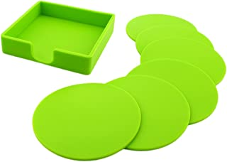 Dolity Set of 7 Solid Rubber Coasters Silicone Glass Cushion Non-Slip Placemat,Deep Tray to Catch Drip and Spill, Large En...