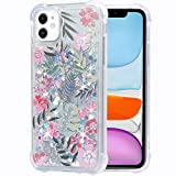 Flocute iPhone 11 Case, iPhone 11 Glitter Floral Case Flower Pattern Clear Bling Sparkle Floating Liquid Soft TPU Cushion Luxury Fashion Girly Women Cute Case for iPhone 11 (Tropical Leaves)